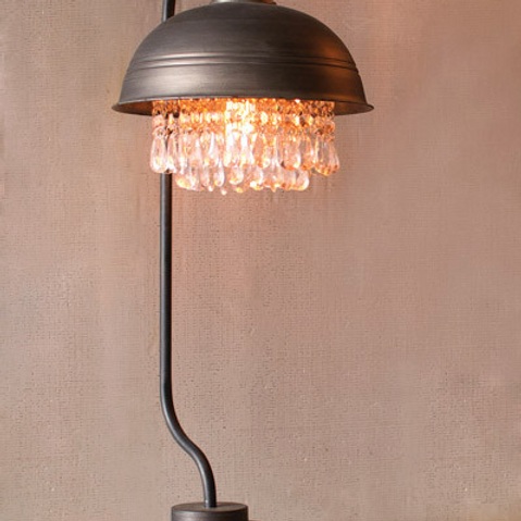 Metal Dome Lamp with Gem Detail