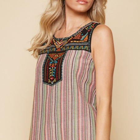 Embroidered Multi Tank
