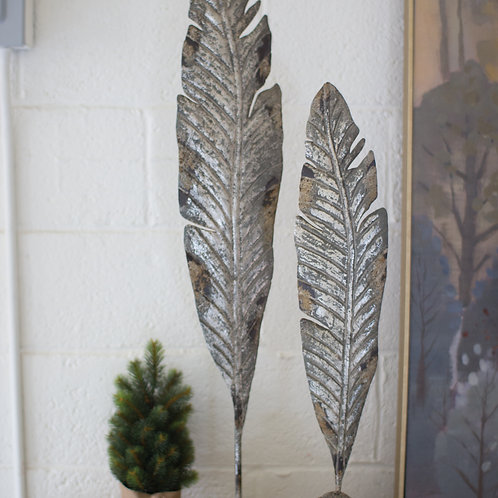 Set of 2 Painted Metal Feather Sculptures
