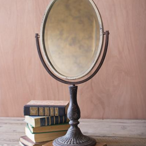 Iron Mirror on Stand - Oval