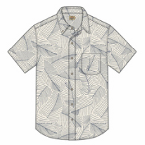 Faherty SS Playa Shirt _ Ivory Leaf Print