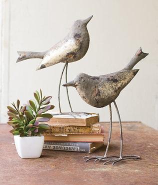 Set of 2 Metal Birds - Rustic Gray