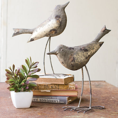 Set of 2 Metal Birds - Rustic Gray