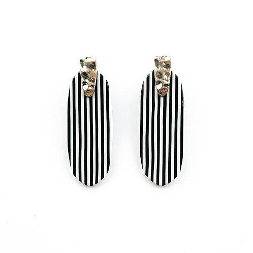 Black & White Mini Stipe Earrings
