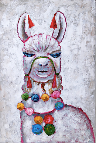 Llama Party Oil Painting