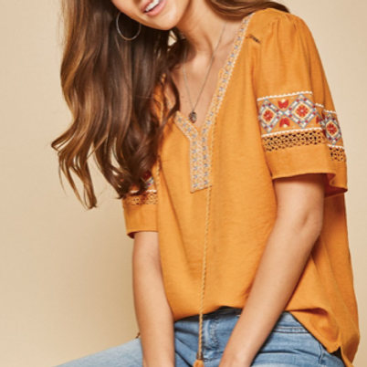 Embroidered Marigold Top