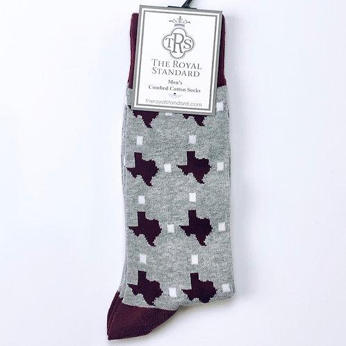 Maroon State of Texas - Socks
