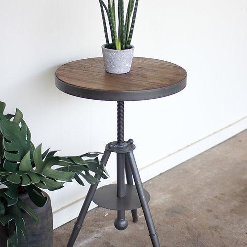 Round Wood U0026 Metal Side Table