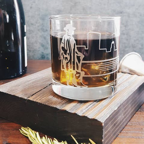Stevie Ray Vaughan Etched Whiskey Glass
