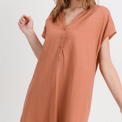 Linen Shift Dress - Canyon Clay