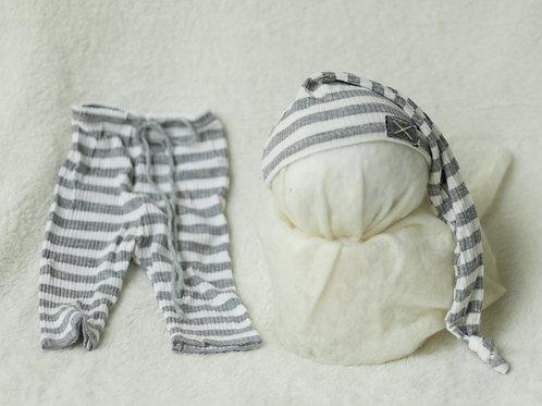 Grey & White Striped Boy Set