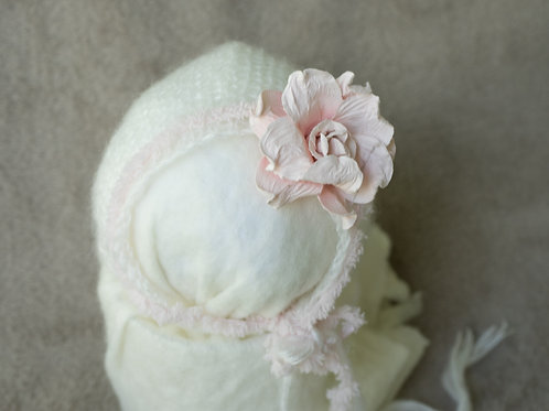 White hat with pink tieback