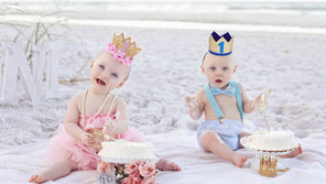 Twins First Birthday Portraits at the Beach.