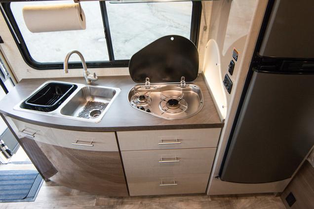 Sink, 2 Burner Stove Top, Refrigerator