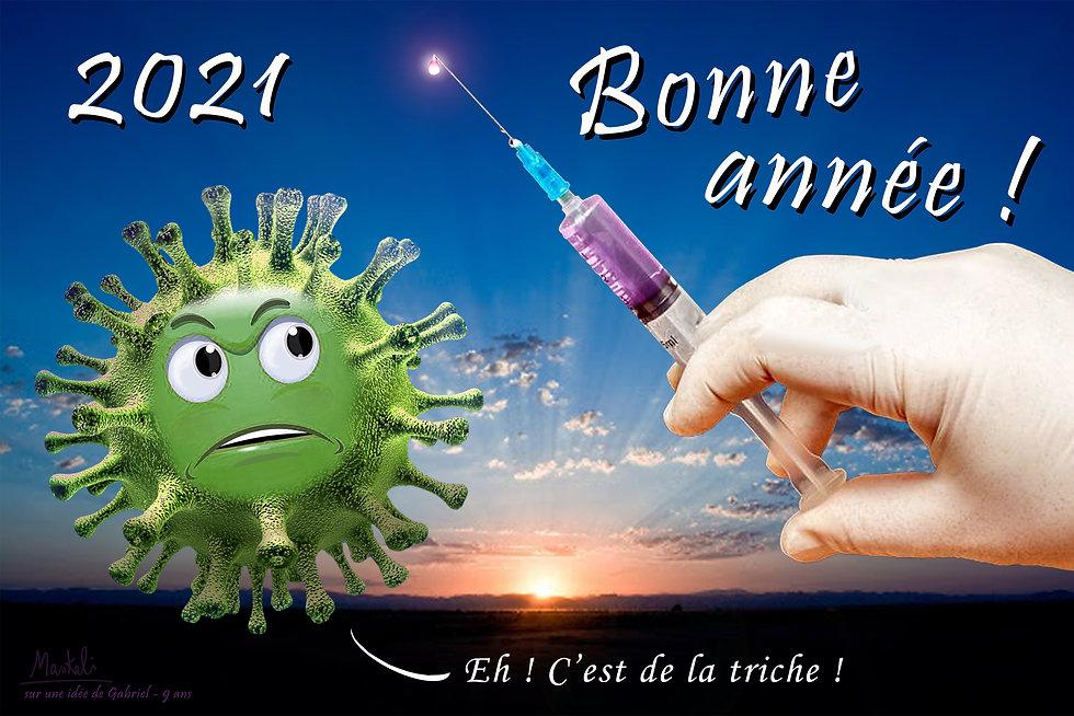 Le corona virus face à une seringue