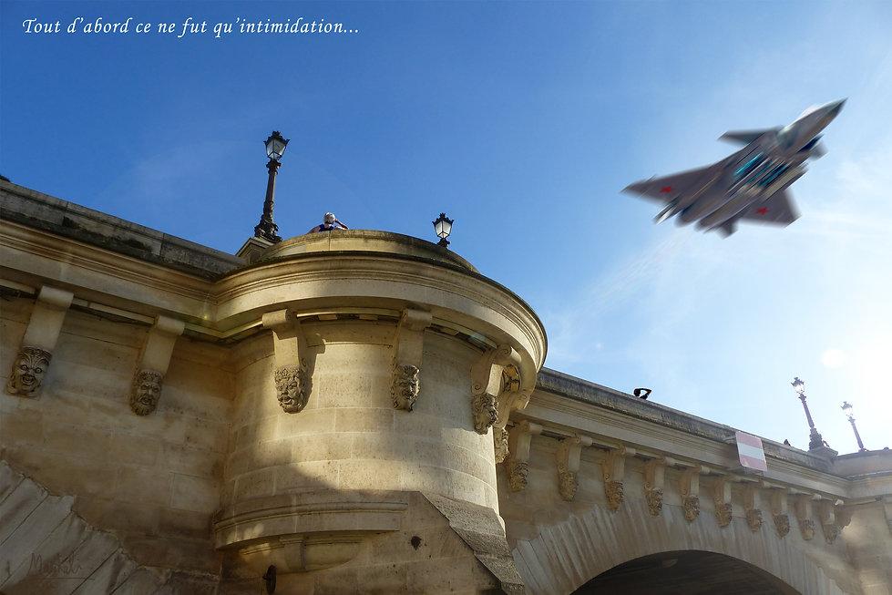 Le pont Neuf à Paris survolé par un avion de chasse chinois