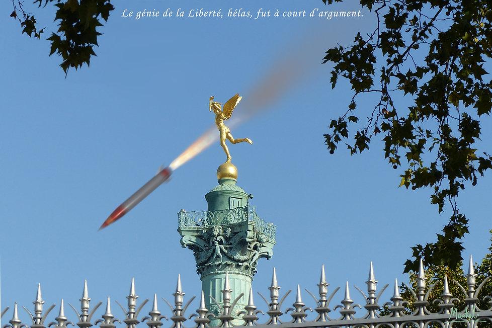 Missile tombant place de la Bastille à Paris