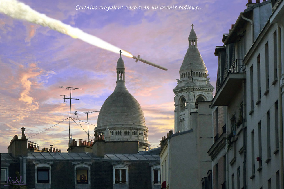 Missile tombant sur Paris Montmartre