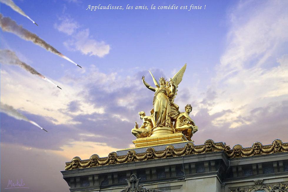 missiles tombant sur l'opéra de Paris