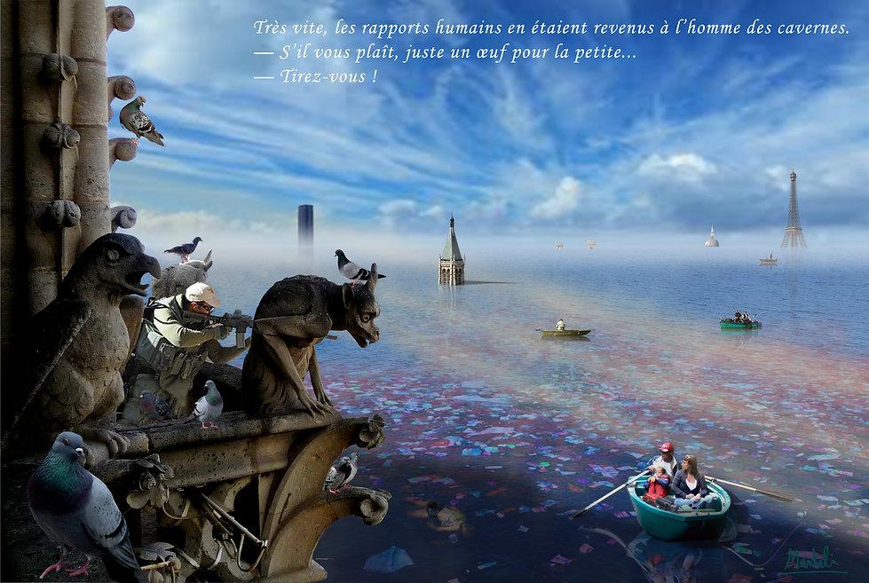 Paris sous les eaux depuis les tours de Notre-Dame
