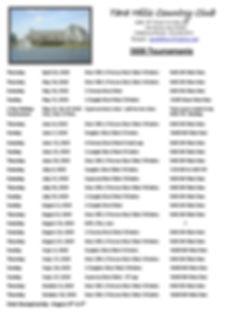2020 Tournament Schedule at Tara Hills C