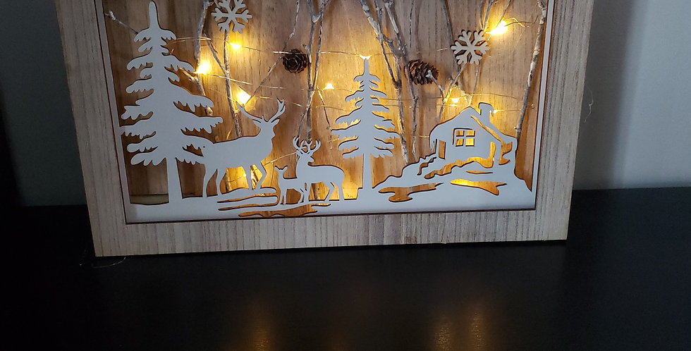 Wooden forest scene with lights