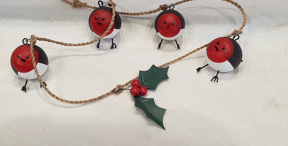 Christmas garland of festive robins