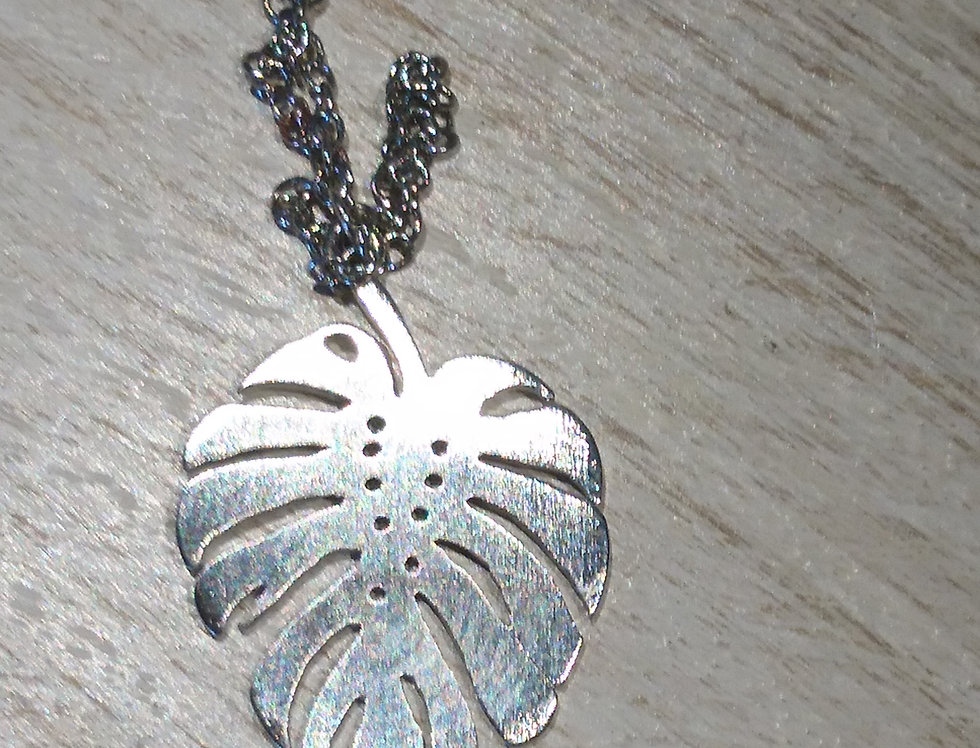 Monstera Leaf Necklace, Silver