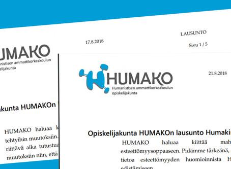 HUMAKOn lausunnot - Humakin Tutkintosääntö ja Esteettömyysopas