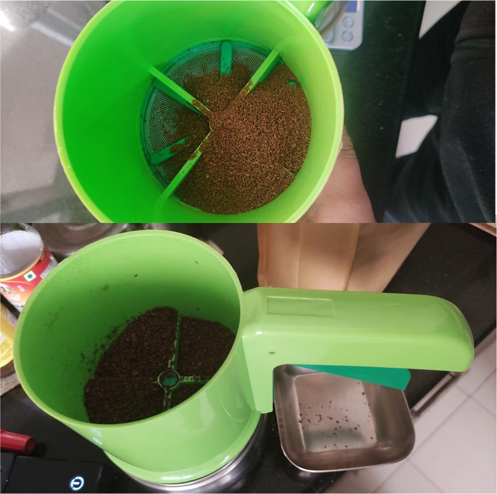 Coffee Grounds in a Sieve