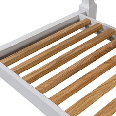 Solid oak slatted shelves are not only sturdy but very pleasing to the eye.