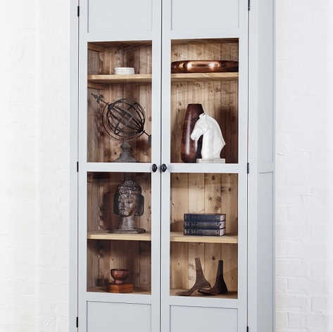 The Clear Glass door option transforms the Jelks Cabinet into a decorative display case or a place to store your large collection of books.