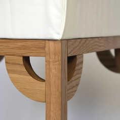 Handcrafted oak corner details.