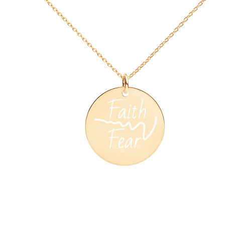 Engraved Faith Over Fear Silver Disc Necklace