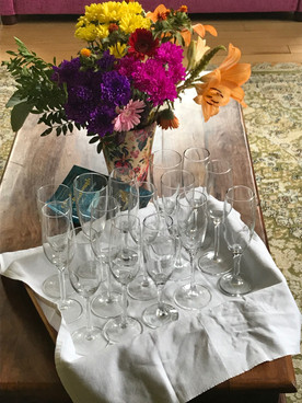 Prosecco glasses on table