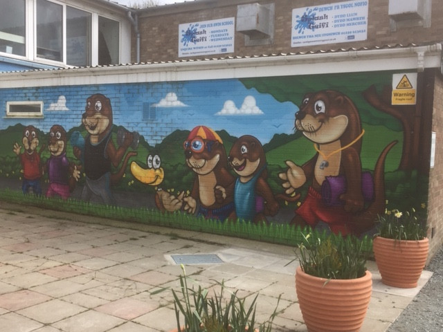 Photograph of mural at Cardigan Swimming Pool and Leisure Complex