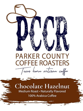 Label for Parker County Coffee Chocolate Hazelnut flavored coffee