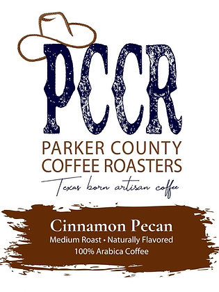 Label for Parker County Coffee Cinnamon Pecan flavored coffee