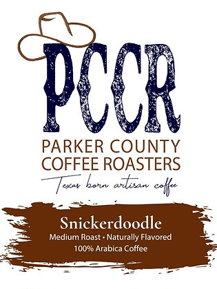 Label for Parker County Coffee Snickerdoodle flavored coffee