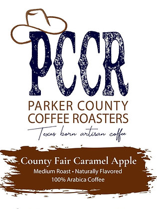 Label for Parker County Coffee County Fair Caramel Apple flavored coffee