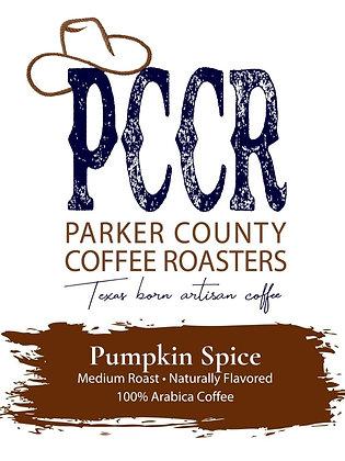 Label for Parker County Coffee Pumpkin Spice flavored coffee