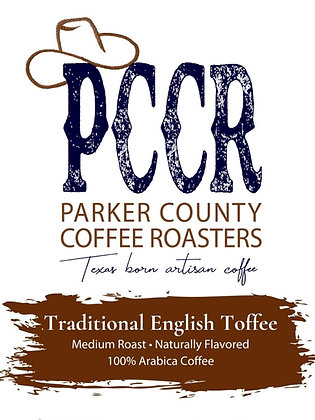 Label for Parker County Coffee Traditional English Toffee flavored coffee