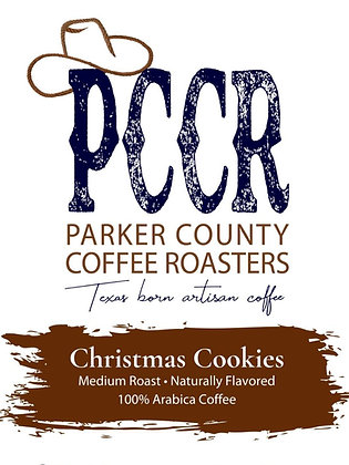 Label for Parker County Coffee Christmas Cookies flavored coffee