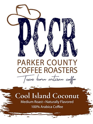 Label for Parker County Coffee Cool Island Coconut flavored coffee
