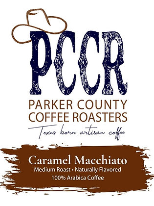 Label for Parker County Coffee Caramel Macchiato flavored coffee