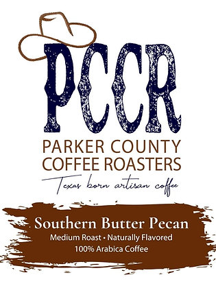 Label for Parker County Coffee Southern Butter Pecan flavored coffee