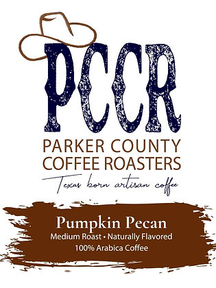 Label for Parker County Coffee Pumpkin Pecan flavored coffee