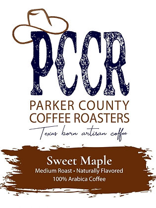 Label for Parker County Coffee Sweet Maple flavored coffee