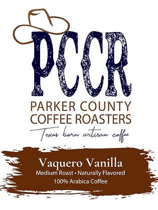 Label for Parker County Coffee Vaquero Vanilla flavored coffee