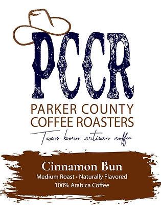 Label for Parker County Coffee Cinnamon Bun flavored coffee